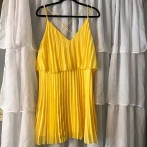 Asos design pleated crop top mini dress yellow